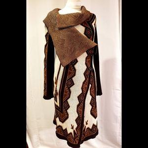 Rachel Roy Drape Front Sweater Cardigan Print L